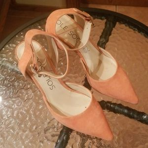 Sole Society peach suede heels size 7